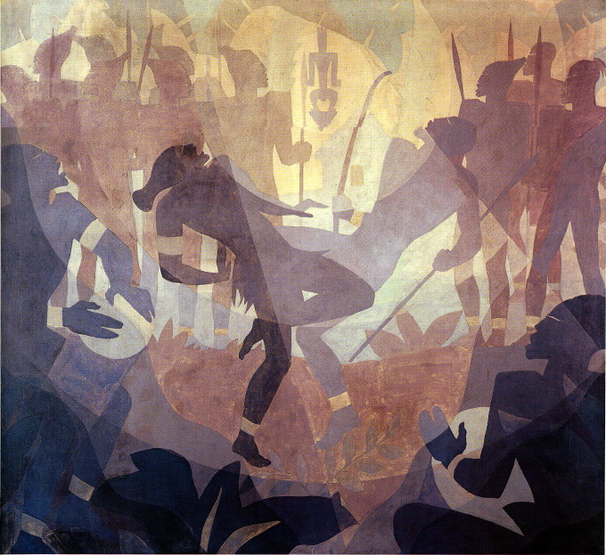 Aaron Douglas. The Negro in an African Setting. (from Aspects of Negro ...